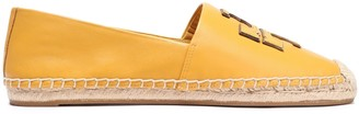 Tory Burch Logo-appliqued Leather Espadrilles
