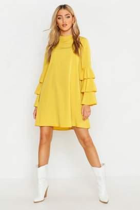 boohoo Woven Tiered Sleeve Shift Dress