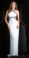 Scala Contrast Beaded Open Back Column Evening Dress