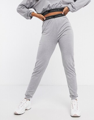 Loungeable slim lounge joggers with logo elastic waist in grey marl