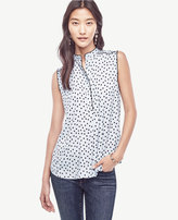 Ann Taylor Dot Piped Sleeveless Blouse