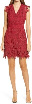 Adelyn Rae Giselda V-Neck Lace Minidress