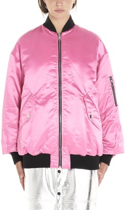 MSGM Logo Patches Oversize Bomber Jacket