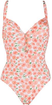 C'Est La V.It Oranges-Print Buttoned Swimsuit