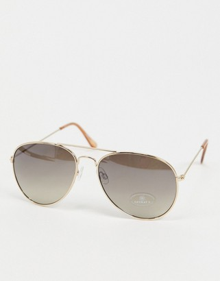 Accessorize Chantal aviator sunglasses in gold