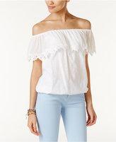 MICHAEL Michael Kors Cotton Lace-Trim Off-The-Shoulder Top