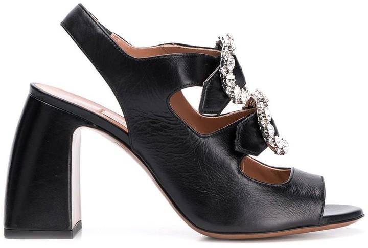 L'Autre Chose crystal buckle sandals