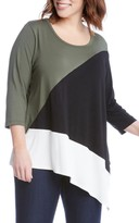 Karen Kane Plus Size Women's Asymmetrical Colorblock Top