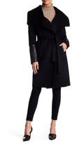 Soia & Kyo Draped Genuine Leather Trim Wool Blend Coat