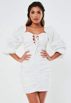 Missguided White Poplin Lace Up Puff Sleeve Mini Dress