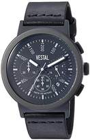 Vestal 'Retrofocus Chrono' Quartz Stainless Steel and Leather Dress Watch, Color:Black (Model: SLRCL002)