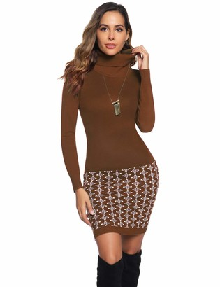 Hawiton Women's High Polo Neck Knitted Jumper Knitwear Tunic Slim Fit Sweater Dress