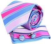 Pink striped Designer Mens Casual Gift Idea Silk Ties Cufflinks Hanky Set 3PT By Y&G