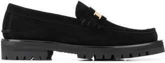 Versace Logo Plaque Suede Loafers