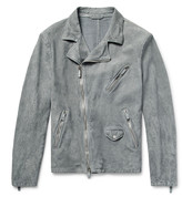 Giorgio Armani Slim-Fit Washed-Suede Biker Jacket