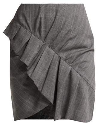 Etoile Isabel Marant Nel Ruffled Wool Mini Skirt - Womens - Grey