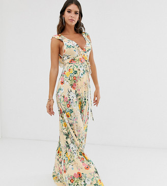 Asos DESIGN Tall ruffle wrap maxi dress with tie detail in floral print