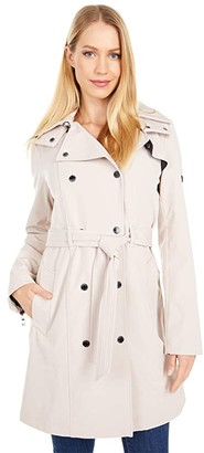 Calvin Klein Hooded Double Breasted Trench Coat with Belt (Blush) Women's Coat