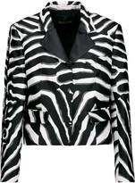 Roberto Cavalli Zebra-print silk-blend satin-twill and bouclé blazer