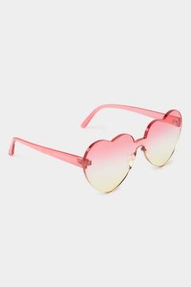 francesca's Raven Heart Shaped Sunglasses - Pink