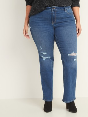 Old Navy Mid-Rise Distressed Plus-Size Kicker Boot-Cut Jeans