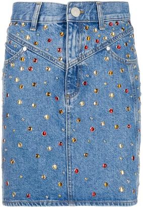 Sandro Paris Rubyn stud-embellished denim skirt