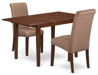 Winston Porter Carlie Kitchen Table 3 Piece Extendable Solid Wood Breakfast Nook Dining Set Winston Porter Table Color: Mahogany, Chair Color: Brown/Mahogany