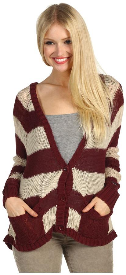 Roxy Clearing Cardigan Sweater (Coastal Clove Stripe) - Apparel