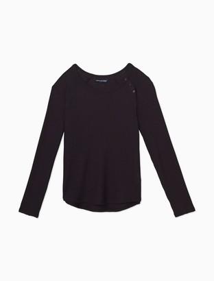 Calvin Klein Waffle-Knit Button Raglan Sleeve Top
