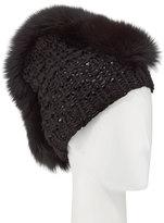 Gigi Burris Millinery Fox Fur Mohawk Beanie, Black