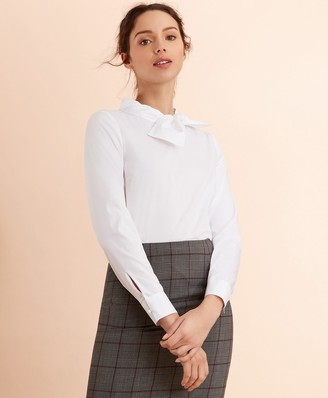 Brooks Brothers Bow-Collar Poplin Blouse