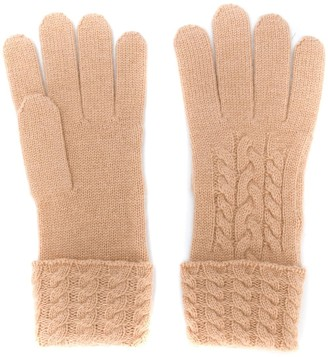 N.Peal Cable Knit Cashmere Gloves