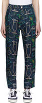 Sunnei Blue Satin Cocktail Print Trousers