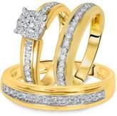 2heart 14K Gold Pl 1 1/5 Ct D/VVS1 Diamond Women's & Men's Engagement Trio Ring Set