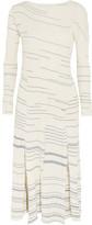 Loewe Asymmetric Striped Ribbed Cotton Dress - White