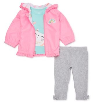 Wonder Nation Baby Girl Reversible Ruffle Windbreaker Jacket, T-shirt & Leggings, 3pc Outfit Set
