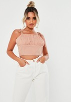 Missguided Petite Pink Ruched Bust Crop Cami Top