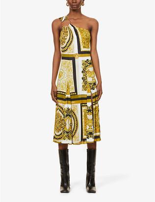 Versace One-shoulder baroque-print stretch-woven midi dress