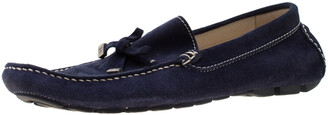 Baldinini Blue Suede Bow Loafers Size 41