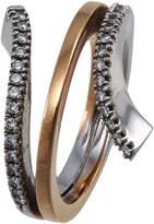Damiani Eden Two-Tone Gold Diamond Coil Ring, Size 7