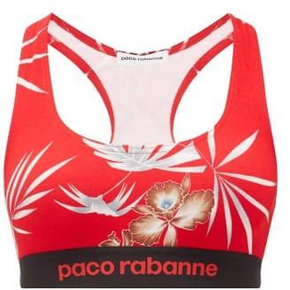 Paco Rabanne Hawaiian-print Sports Bra - Womens - Red Print
