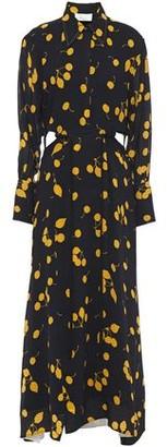 3.1 Phillip Lim Cutout Printed Crepe Maxi Shirt Dress