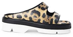 Dries Van Noten Women's Leopard-Print Leather Platform Slides Sandals