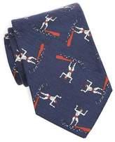 Drakes Drake's Printed Surfer Tie in Navy