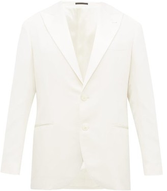 Brunello Cucinelli Single Breasted Silk Twill Smoking Jacket - Mens - White