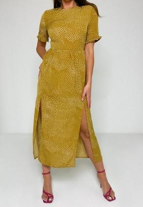 Missguided Mustard Dalmatian Print Frill Smock Midi Dress