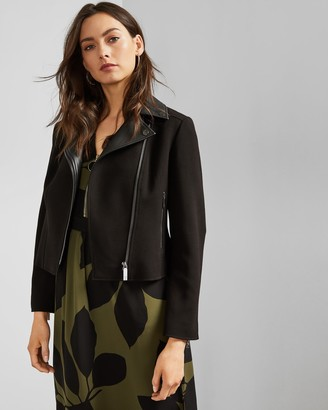 Ted Baker TOPAS Faux leather collar biker jacket