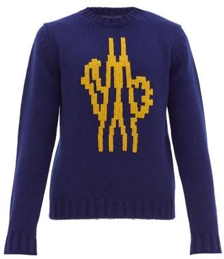 Moncler 2 1952 - Logo Intarsia Wool Sweater - Mens - Navy Multi