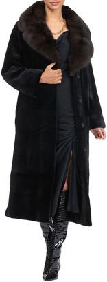 Maurizio Braschi Leather Belted Mink Fur Coat