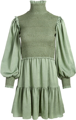Alice + Olivia Elvira Smocked Mock Neck Mini Dress